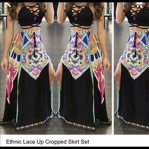 Ethnic lace up cropped skirt set